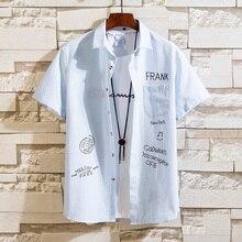 Summer Mens Shirts Pocket Fashion Printing Man Shirts Turn-Down Collar Men Shirt Short Sleeve