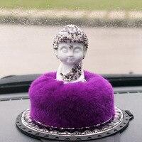 High End Diamante Ceramics Tathagata Car Perfume Holder Elegant Rex Rabbit Hair Peaceful Buddha Car Accessories
