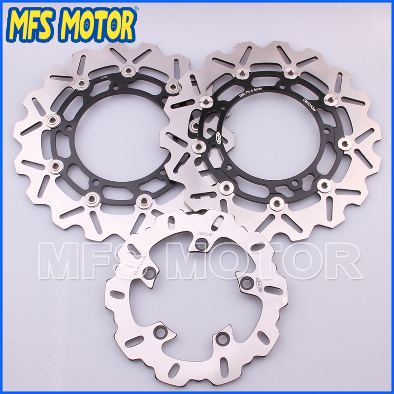 Motorcycle Part Front Rear Brake Disc Rotor For Yamaha YZF R6 2003 2004 2005 YZFR6 03 04 05 Black Color motorcycle front and rear brake pads for yamaha fzr 400 fzr400 3en1 1988 brake disc pad
