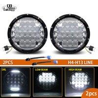 1 Pair 7 Inch Led Work Light Round Cree Chip H4 Headlamp 5D Lens Combo Beam