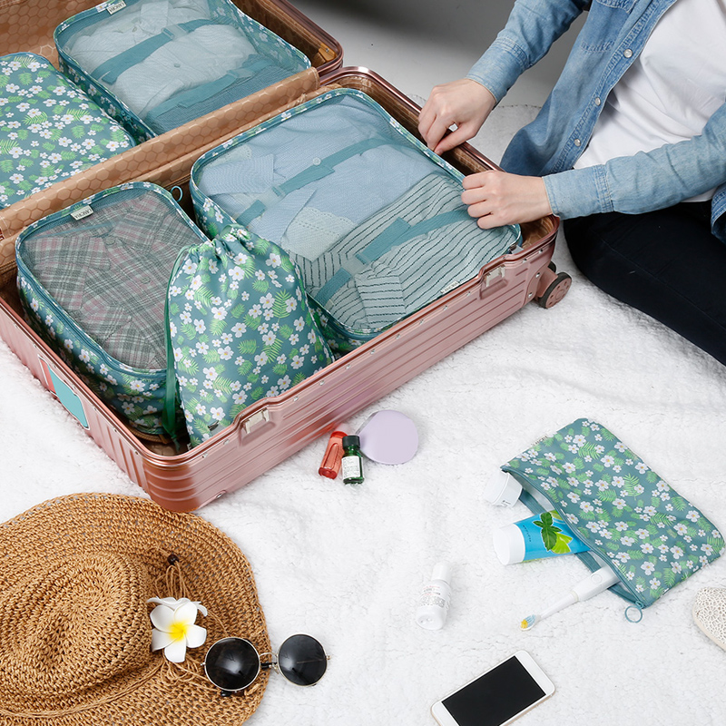 SUZY New 6PCS/Set High Quality Travel Mesh Bag In Bag Luggage Organizer Packing Cube Organiser for Clothing