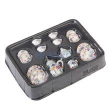 15pcs Dollhouse Miniature Dining Ware Porcelain Tea Set Dish Cup Plate Colorful Floral Print