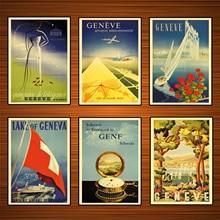 Carteles de viaje de Ginebra de Suiza, pegatinas de pared clásicas de estilo clásico de Jederzeit ist Ferienzeit, póster Vintage de lona, regalo de decoración de Bar para el hogar