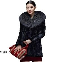 Fashion faux fur long coat 2017 new mink jacket women in the section lap big raccoon collar Coat