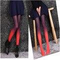 2017 NOVO da menina de Moda Ombre collants gradiente meia-calça sexy Apertadas funky para as mulheres lotação calça 6 cores misturadas