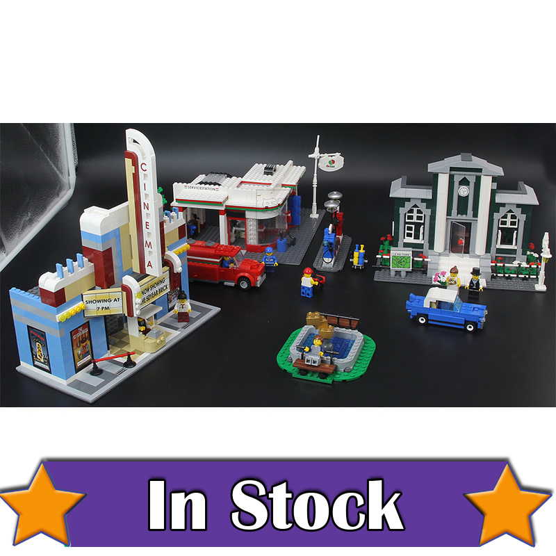 ANNIVERSARY SET Town Plan Lepin CINEMA SERVICE STATION LAMPPOST VEHICLE 02022 City DIY Building Blocks Bricks Toys 10184 2080pcs переходник hama jack 3 5 m jack 6 3 f стерео черный 00122388
