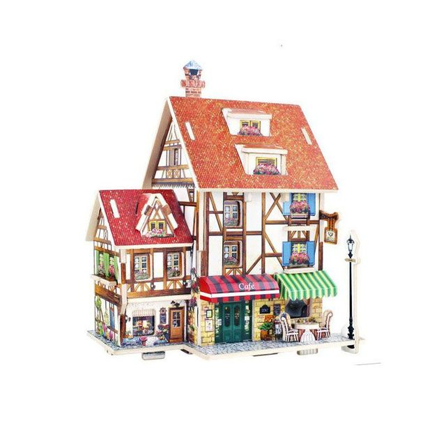 1 Stück 3d Puzzle DIY Modell Kinder Frankreich Französisch Stil Kaffee  Hausbau Lntelligent Spielzeug Kids Handmade