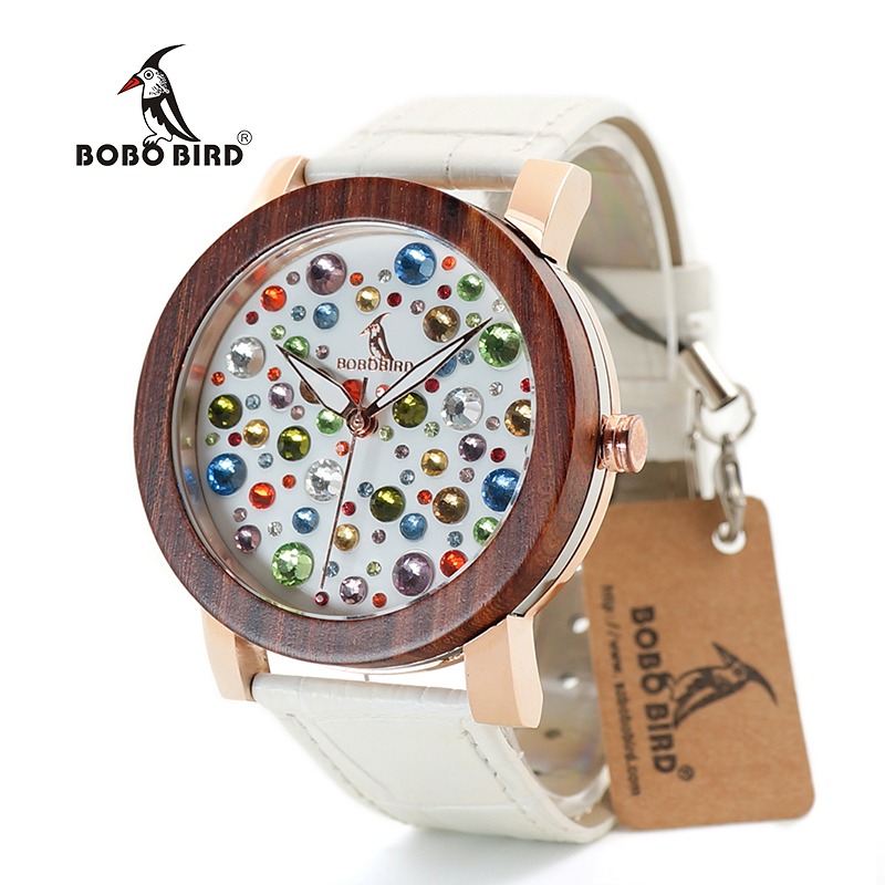 BOBO BIRD J04/J05/J06 Wooden Watches Ladies Quartz Wristwatch Diamond Dial Watch with Leather Strap j
