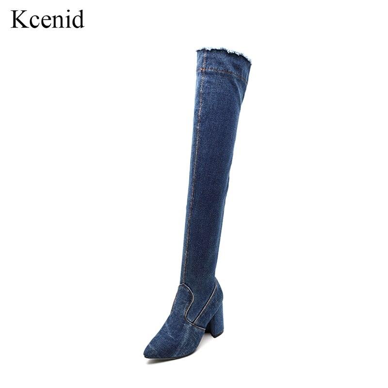 Kcenid 2019 Frühling Herbst Blau Denim über Das Knie Oberschenkel Hohe Stiefel Frauen Spitz High Heels Stiefel Zipper Schuhe Größe 33-40 Frauen Schuhe
