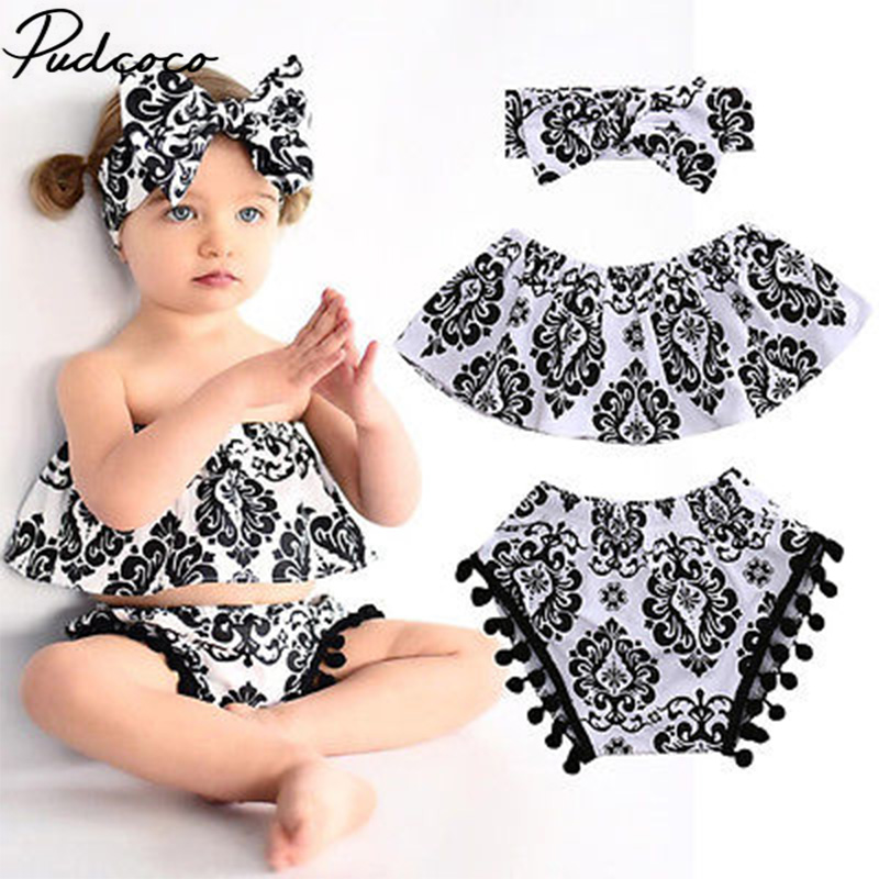 Ruffled Cute Floral Top Blouse+Pom Tassel+Headband 3PCS Bebes Clothing Set Sunsuit Adorable Summer Baby Girl Kids Clothes