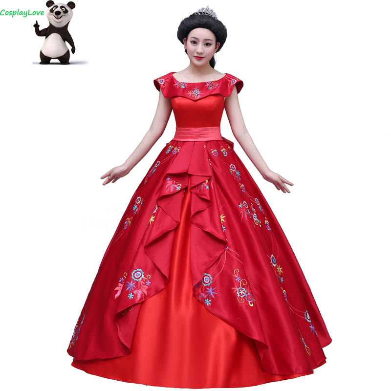 Cosplaylove Elena of Avalor Cosplay Kid Adult Red Princess Elena Dress Cosplay Costume Cusotm Made For Women Party Halloween