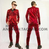 S 5XL 2015 Men S New Slim Singer GD Bigbang High Grade Silk Dress Fabric Suit