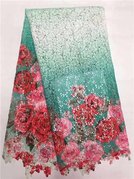 Neueste netzwerk schnur spitze stoff für kleidungsstück, Afrikanische französisch spitze stoff rosa Blume in Orange Red afrikanischen guipure-spitze stoff