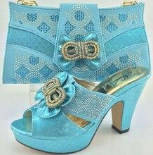 Hochzeit Schuhe Und Tasche High Heels Himmel Farbe Mode Afrikanischen Stil schuhe Mit Passender Tasche Set Italien Schuh Und Tasche Set ME3321