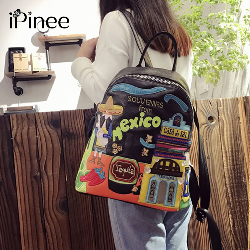 iPinee Designer Cartoon Middle School Bags Female High Quality PU Leather Laptop Backpacks For Teenage Girls 2018