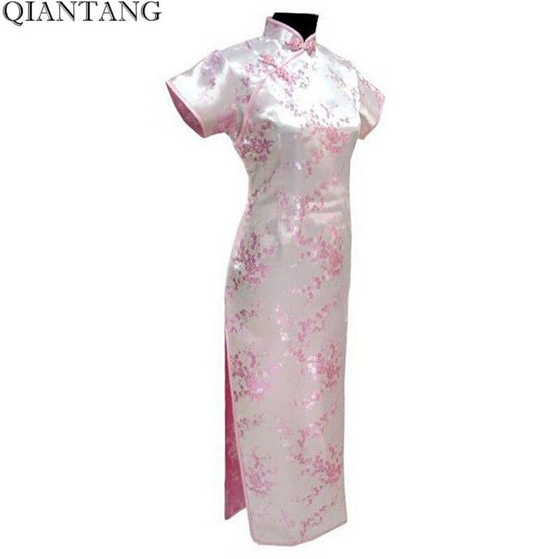 98dbd95ee78b Лидер продаж светло-розовый Для женщин атлас Cheongsam классический длинное  платье Qipao цветок Размеры размеры S M L XL XXL, XXXL 4XL 5XL 6XL Mujer  Vestido ...
