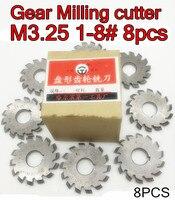 M3.25 Modulus PA20 graden NO.1-NO.8 8 stks HSS Versnelling frees Gear snijgereedschap Gratis verzending