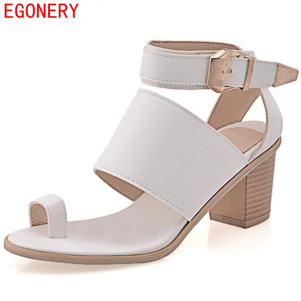 Womens sandals in size 12 - Egonery Faux Leather Strap Buckle Square High Heels Summer Style Womens Sandal Shoes Woman Top Size Us 12