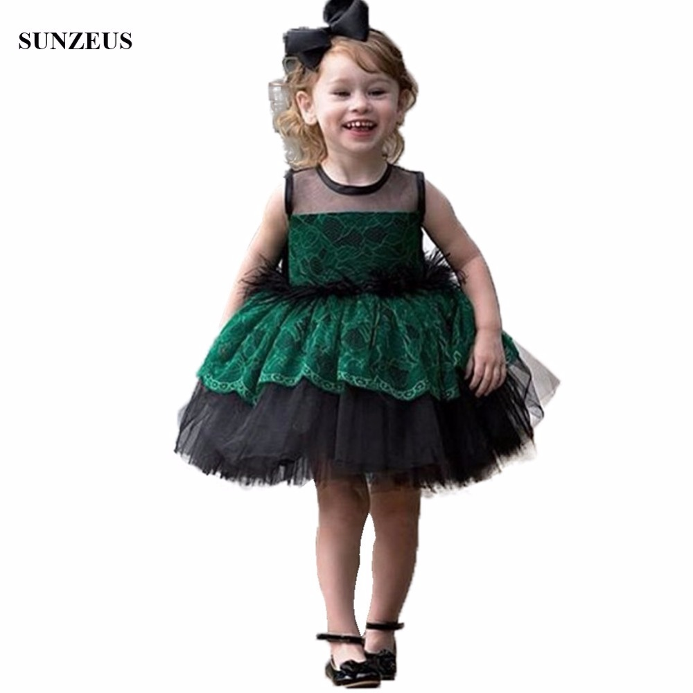 Green Lace   Flower     Girl     Dresses   Knee Length Ball Gown Puffy Black Tulle Kids Party Gowns With Feathers FLG004