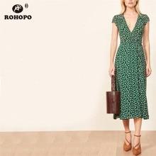ROHOPO Tiny Printed Floral Tunic Vintage Midi Dress Belted V Collar Slim Body Pleated Slit Side Maxi Multiways Vestido #YY019H