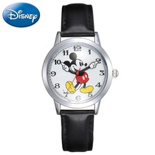 Original Disney Teen Äkta Läder Quartz Barn Mode Klockor Mickey Mouse Cartoon Student Watch Pojkar Girls Gift Clock