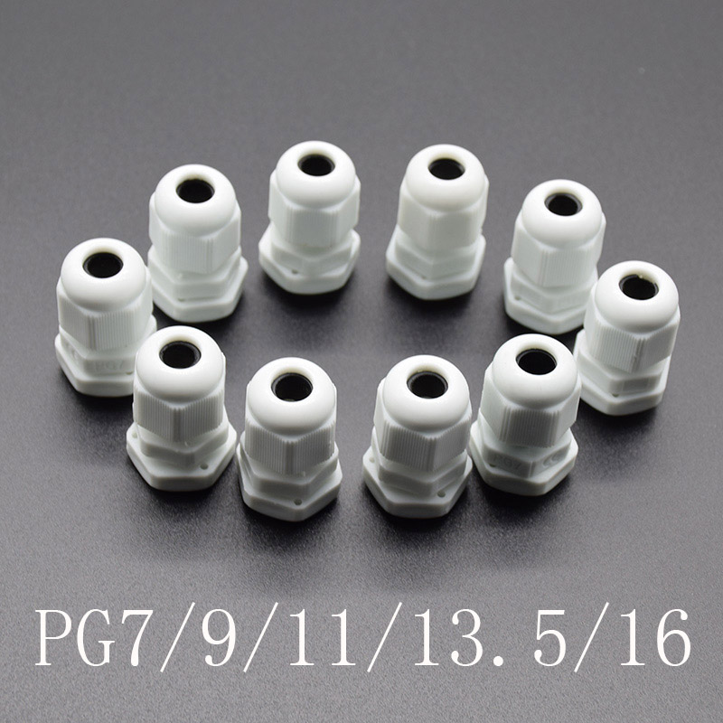 10pcs IP68 white PG7 PG9 PG11 PG13.5 PG16 for 3-6.5mm-14mm Wire Cable CE Waterproof Nylon Plastic Cable Gland Connector
