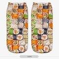 3D Impreso plaza sushi Nueva Lindo Escotados Tobillo Calcetines de Múltiples Colores Las Mujeres Calcetín Calcetines Ocasionales de Las Mujeres