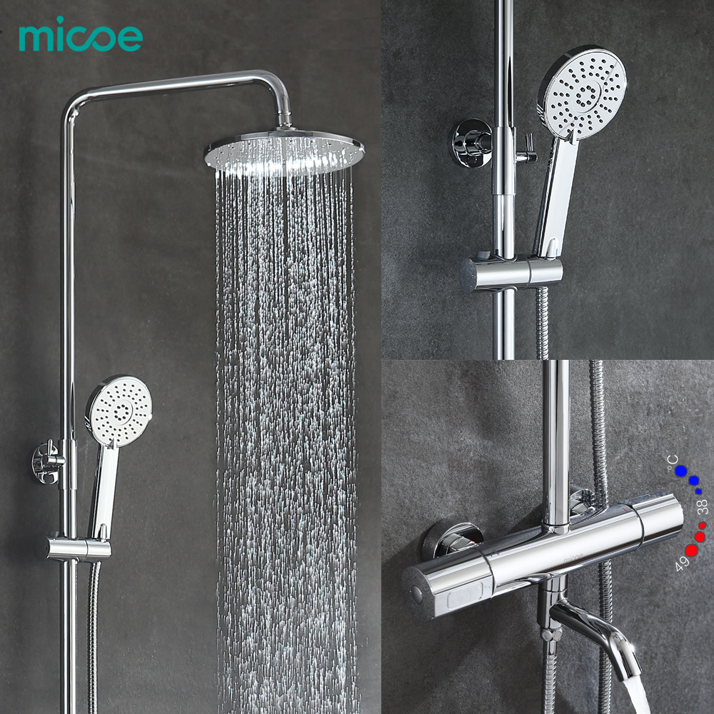 Micoe 2018 Robinet For Thermostatic Shower Faucet Suite Bathroom Copper 38 To 49 Degrees Head Adjustable Three-function Nozzle the three degrees the three degrees maybe 2 cd