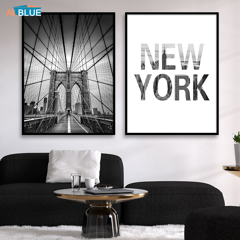 Scandinavian Painting Canvas Black And White New York Brooklyn Bridge Posters Prints Wall Art Picture For Living Room Decoration