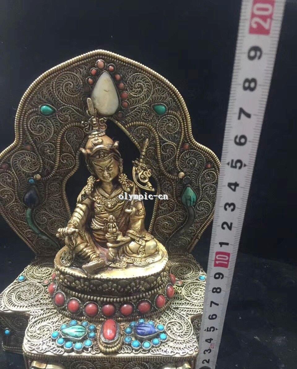 Tibet Nepal Handicraft Silver Filigree Inlay Red Gem Turquoise Padmasambhava