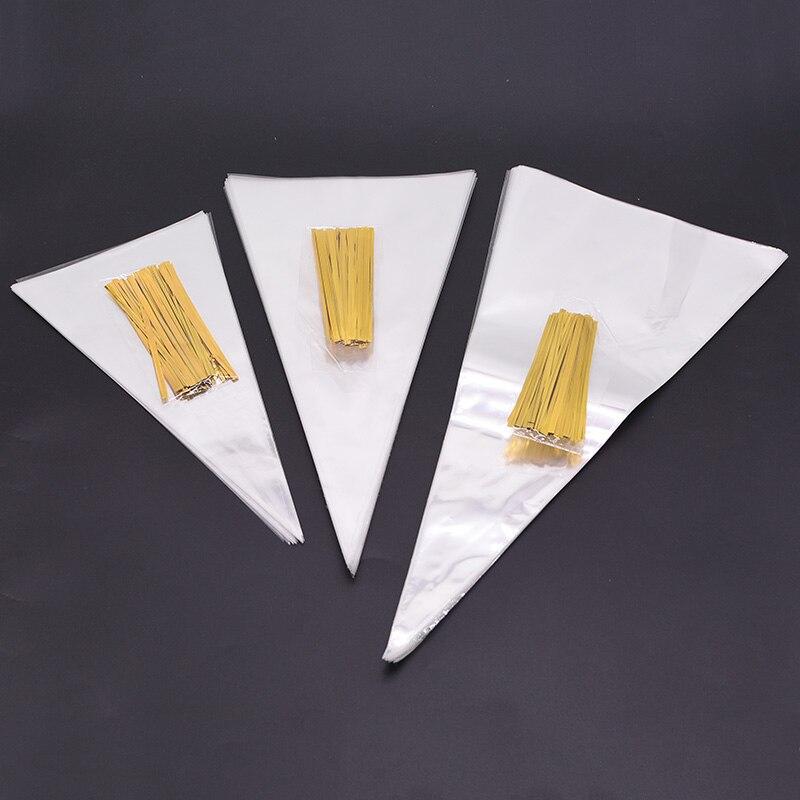 50 шт., прозрачные пакеты для подарков, 13 х25 см, 16 х30 см, 18 х37 см