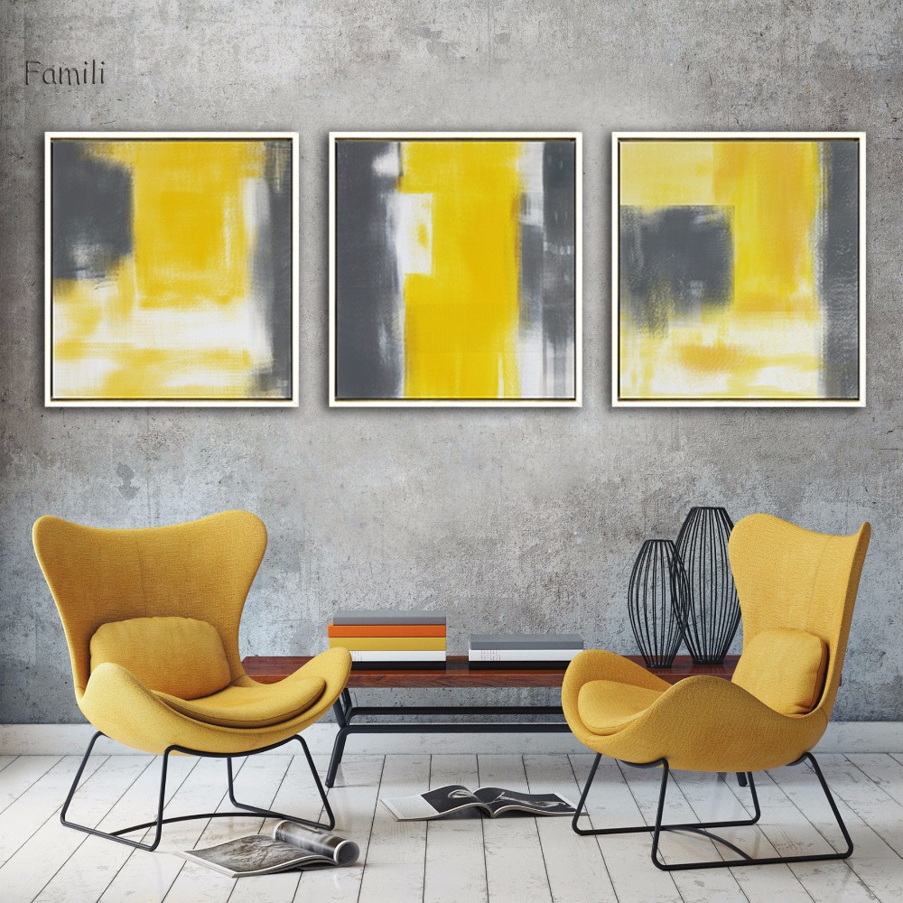 Modern Wall Abstract Paint Yellow Gray and White Canvas ...