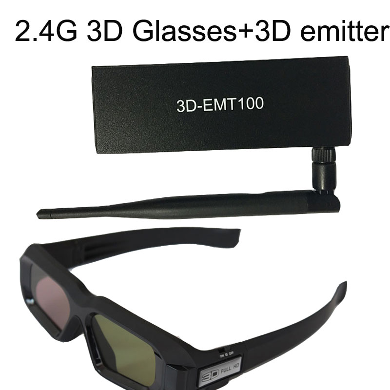 2.4G 3D Glasses+Projector RF 2.4G Radio Frequency 3D Transmitter LED Cinema VESA Synchronized Bluetooth Infrared 3D Transmitter