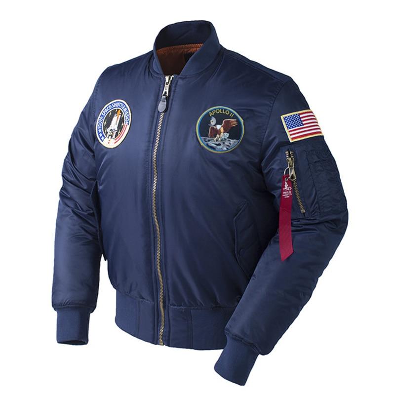 Invierno de Apolo 100th misión espacial grueso acolchado MA1 Bomber Hiphop nos piloto de la Fuerza Aérea caliente de vuelo chaqueta para los hombres