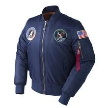 Zima Apollo 100. Prom kosmiczny misja gruby wyściełany MA1 Bomber Hiphop siły powietrzne usa Pilot ciepły ponadgabarytowy kurtka lotnicza dla mężczyzn