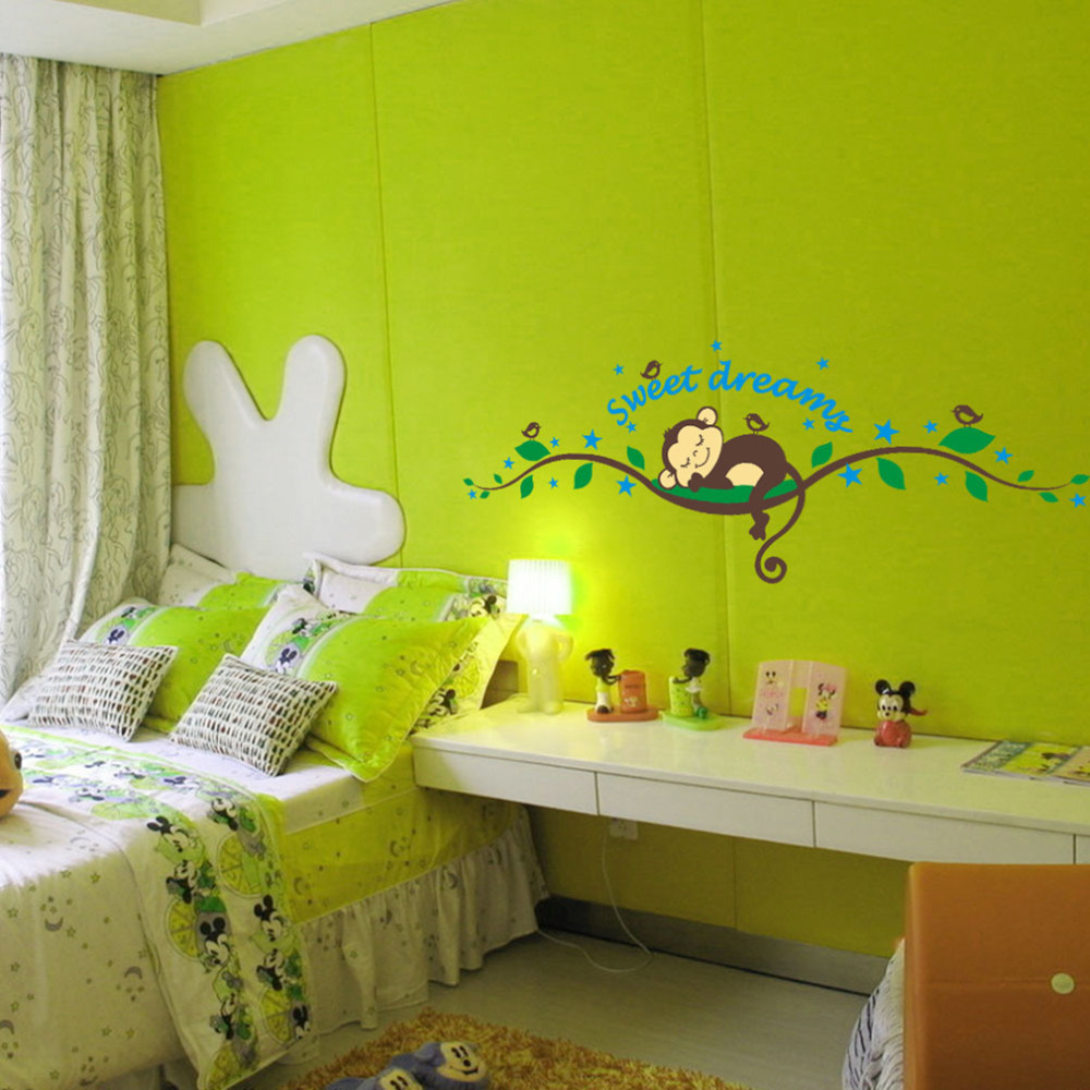sweet dream kawaii monkey wall stickers kids room decoration 1203 cartoon tree home decals bedroom. Interior Design Ideas. Home Design Ideas