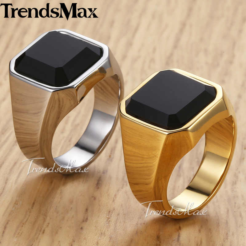 Men's Ring Rock Punk Smooth 316L Stainless Steel Black CZ Silver Gold Color Hip Hop Rings For Men Party Jewelry Wholesale KHRM63