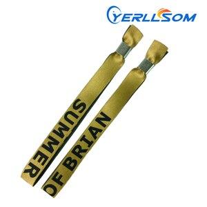 YERLLSOM 1500 шт./лот индивидуальные Заказные тканевые браслеты с тканым логотипом для мероприятий F0504032