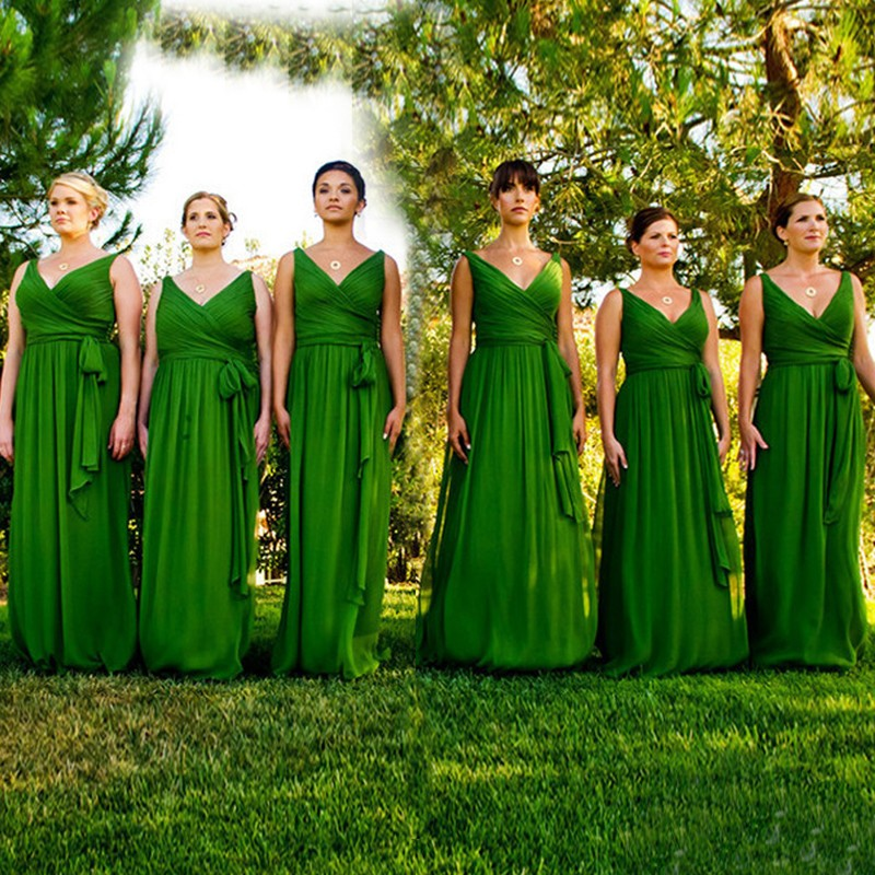 Custom Made Emerald Green Bridesmaid Dress 2016 V Neck Y Sheer Back For Party A