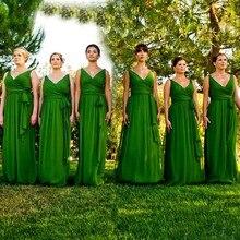 Emerald Green Bridesmaid Dress 2017 Vestido De Festa De Casamento Chiffon Backless Long Wedding Party Gowns BN131
