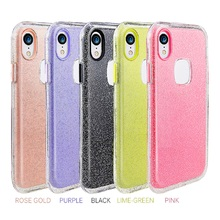 Fashion 3 Layers Glitter Case for iphone XS Max XR X 6 S 7 8 Plus Bling Powder Clear Soft TPU+PC Shockproof Protector BacK Cover