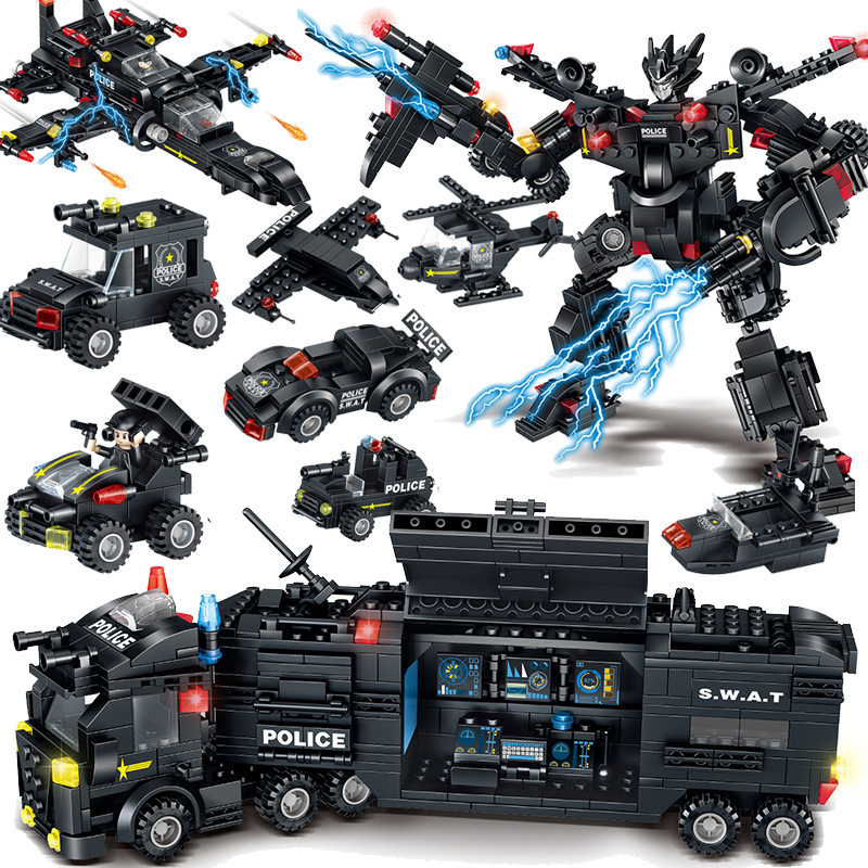 820pcs Children s building blocks toy Compatible city military Machine change special police Bricks birthday gifts