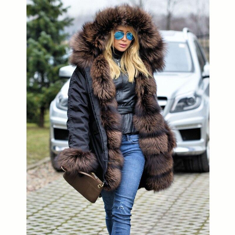 Arlenesain personnalisé réel fourrure Parka hiver femmes veste mode véritable fourrure de renard Parka avec réel lapin fourrure doublure manteaux de fourrure