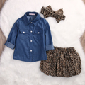 3PCS Set Toddler Kids Clothes 2017 Summer Baby Girl Denim Tops+Leopard Culotte Skirt Outfits Children Girl Clothing Set