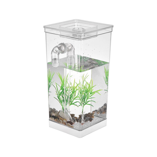 Mini Fish Tank Aquarium Self Cleaning Fish Tank Bowl Convenient Acrylic Desk Aquarium for Office Home Decoration Pet Accessories