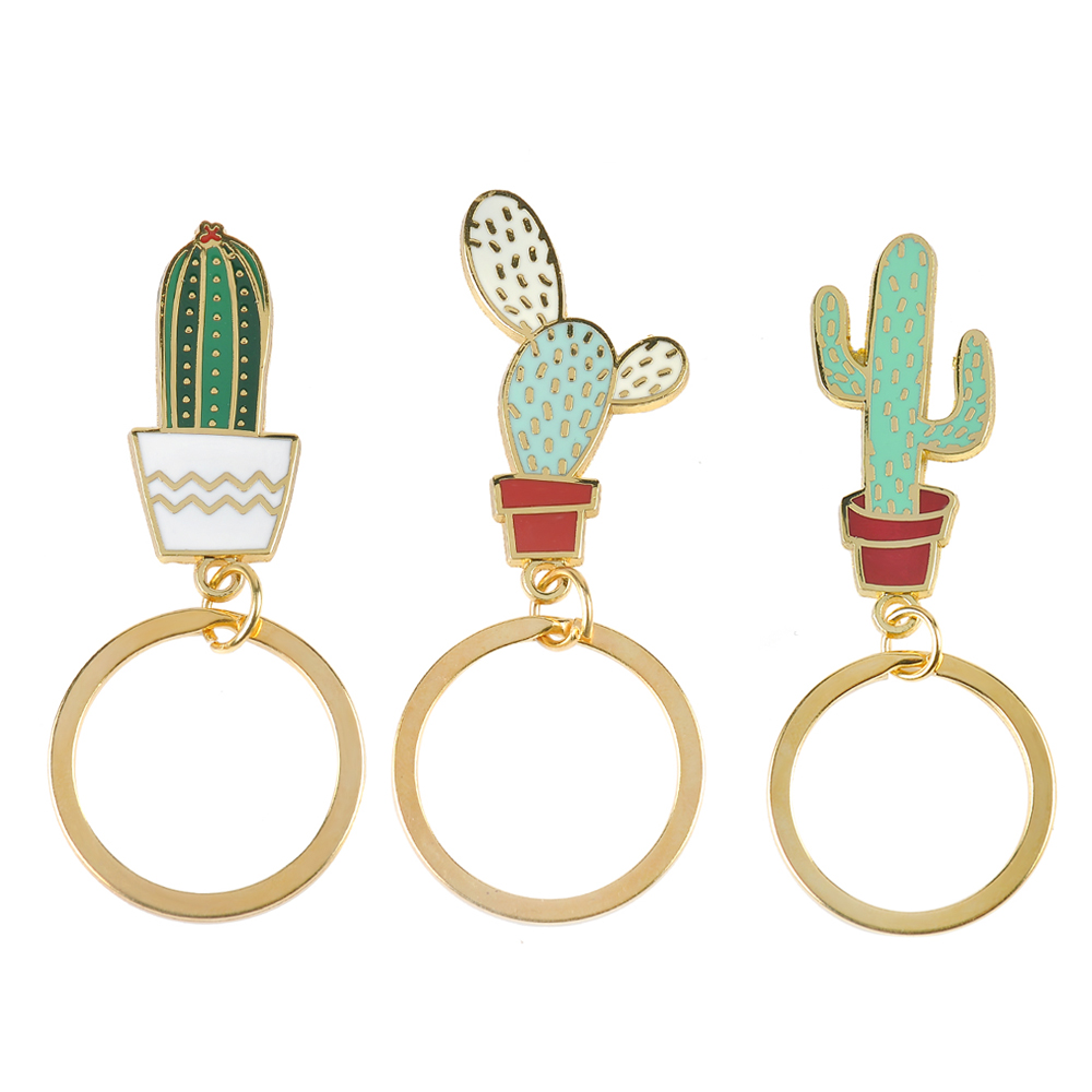 lovely Cactus Keychains Women Succulent Potted succulent plants shaped Keychain Creative Car Key chains best Gift for friends