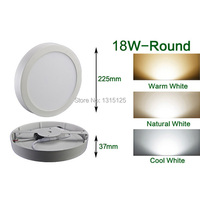 Dimmable 18W LED Panel Light / Round Surface Panel Mounted Bulb Lamp Wholesale Ceiling light 8inch high lumens Free Shipping