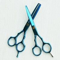 Professional Hair Scissors High Quality Bule Titanium The Hair Cutting Scissors 5 5 Inch Shear And