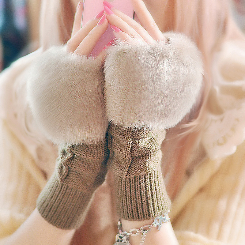 Winter Gloves Fashion Women Hand Wrist Crochet Knitted Fingerless Gloves Knitting Mittens Winter Autumn Warmer Wrist Trim Gloves