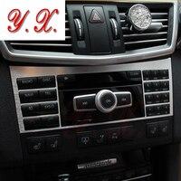 High quality Alloy sticker For Mercedes Interior console Trim decorative Cover Sticker For mercedes W124 W210 W211 W212 E Class